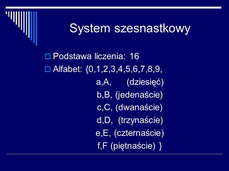 Zamiana z systemu na system Bardzo prosta jest zamiana zapisu liczb całkowitych z systemu binarnego na zapis w systemie o zasadzie 2 k (k – liczba całkowita), ponieważ wystarczy liczbę podzielić (od prawej) na części k cyfrowe i każdą część przedstawić jako cyfrę w danym systemie.