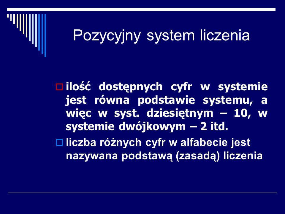 Pozycyjny system liczenia Liczbę rzeczywistą w systemie liczenia o zasadzie p można przedstawić w następującej postaci: c n c n-1...