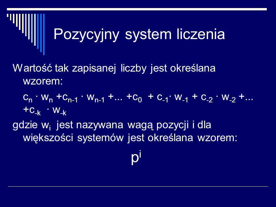 Pozycyjny system liczenia Ważne są reguły dotyczące przetwarzania liczb np.