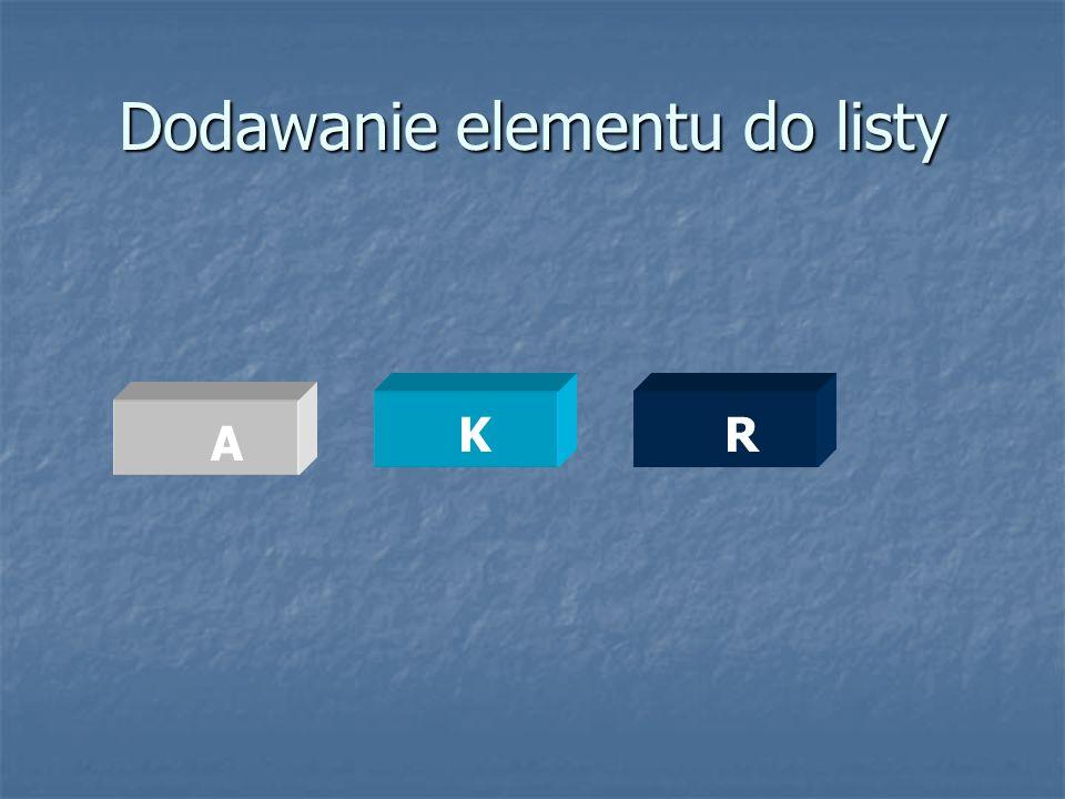 Dodawanie elementu do listy KR A
