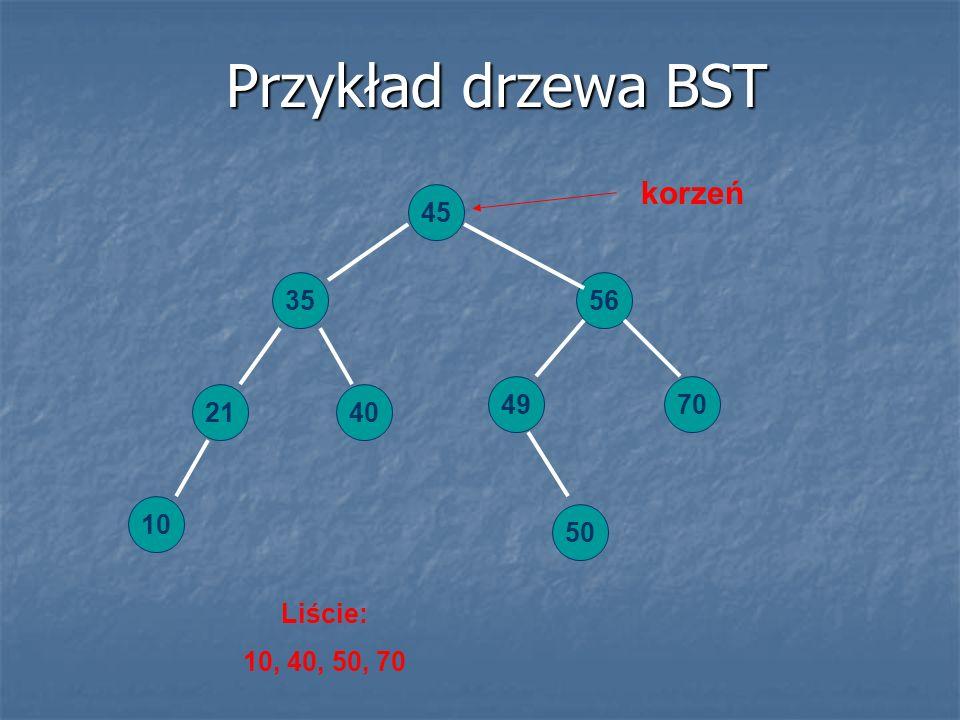 Przykład drzewa BST 45 56 49 4021 35 50 10 70 korzeń Liście: 10, 40, 50, 70