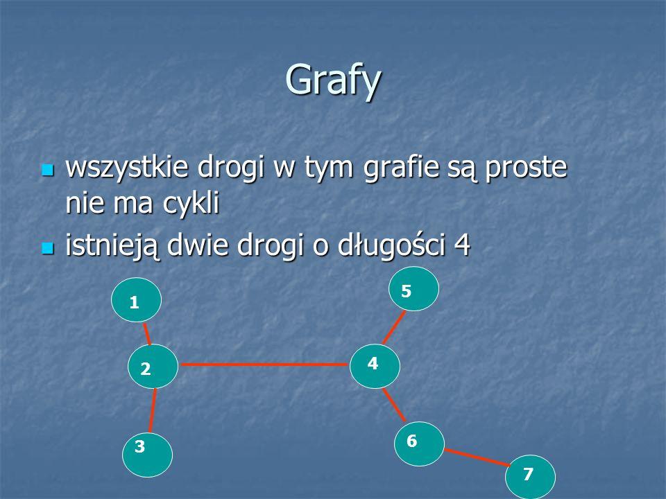 Grafy wszystkie drogi w tym grafie są proste nie ma cykli wszystkie drogi w tym grafie są proste nie ma cykli istnieją dwie drogi o długości 4 istniej