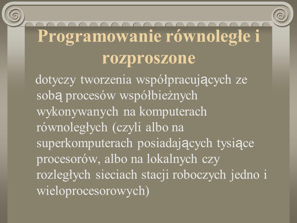 Programowanie równoległe i rozproszone dotyczy tworzenia współpracuj ą cych ze sob ą procesów współbieżnych wykonywanych na komputerach równoległych (