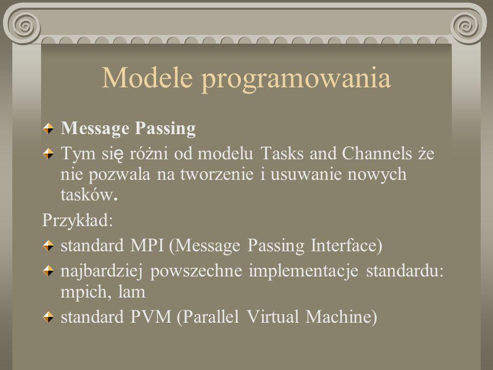 Modele programowania Message Passing Tym si ę różni od modelu Tasks and Channels że nie pozwala na tworzenie i usuwanie nowych tasków.