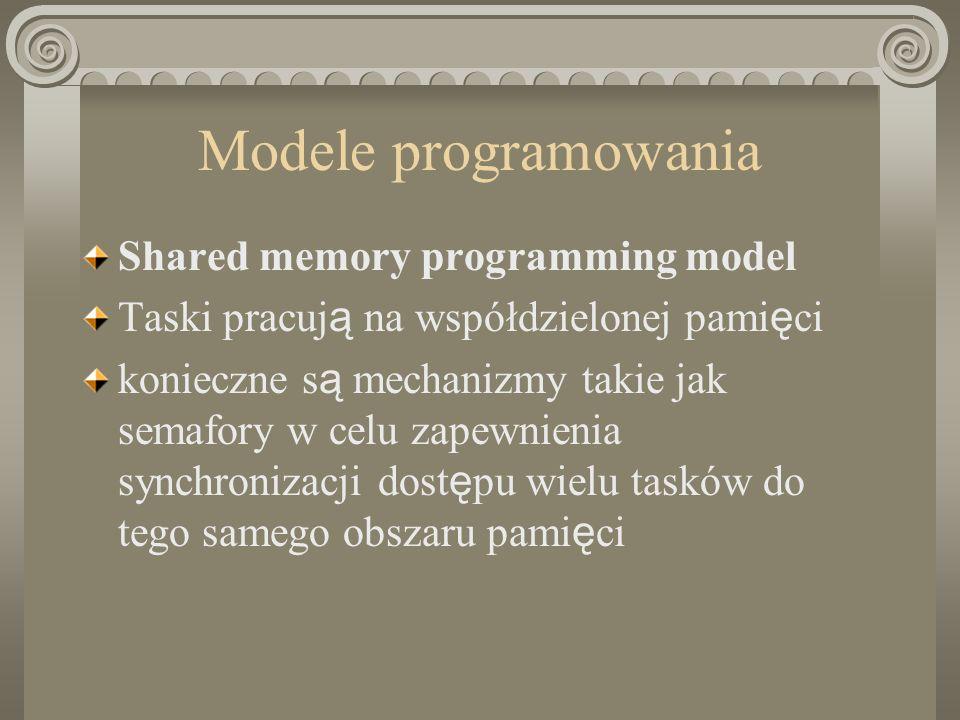 Modele programowania Shared memory programming model Taski pracuj ą na współdzielonej pami ę ci konieczne s ą mechanizmy takie jak semafory w celu zapewnienia synchronizacji dost ę pu wielu tasków do tego samego obszaru pami ę ci