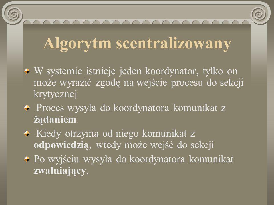 Algorytm scentralizowany W systemie istnieje jeden koordynator, tylko on może wyrazić zgodę na wejście procesu do sekcji krytycznej Proces wysyła do k