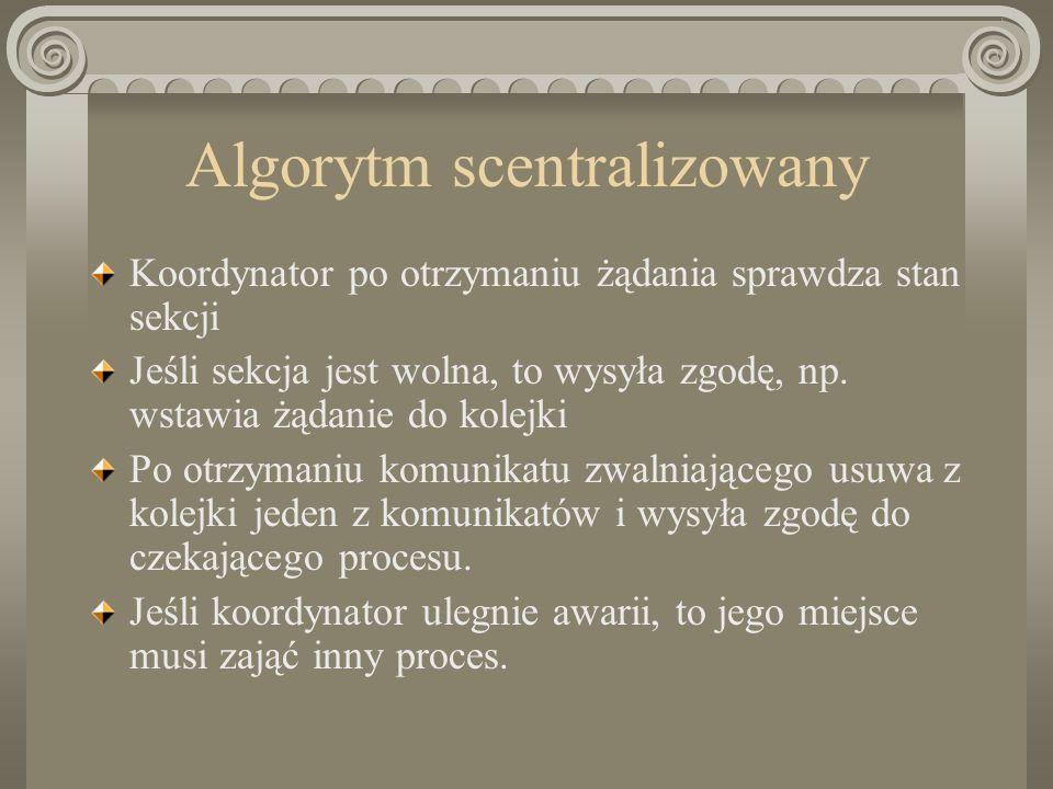 Algorytm scentralizowany Koordynator po otrzymaniu żądania sprawdza stan sekcji Jeśli sekcja jest wolna, to wysyła zgodę, np. wstawia żądanie do kolej