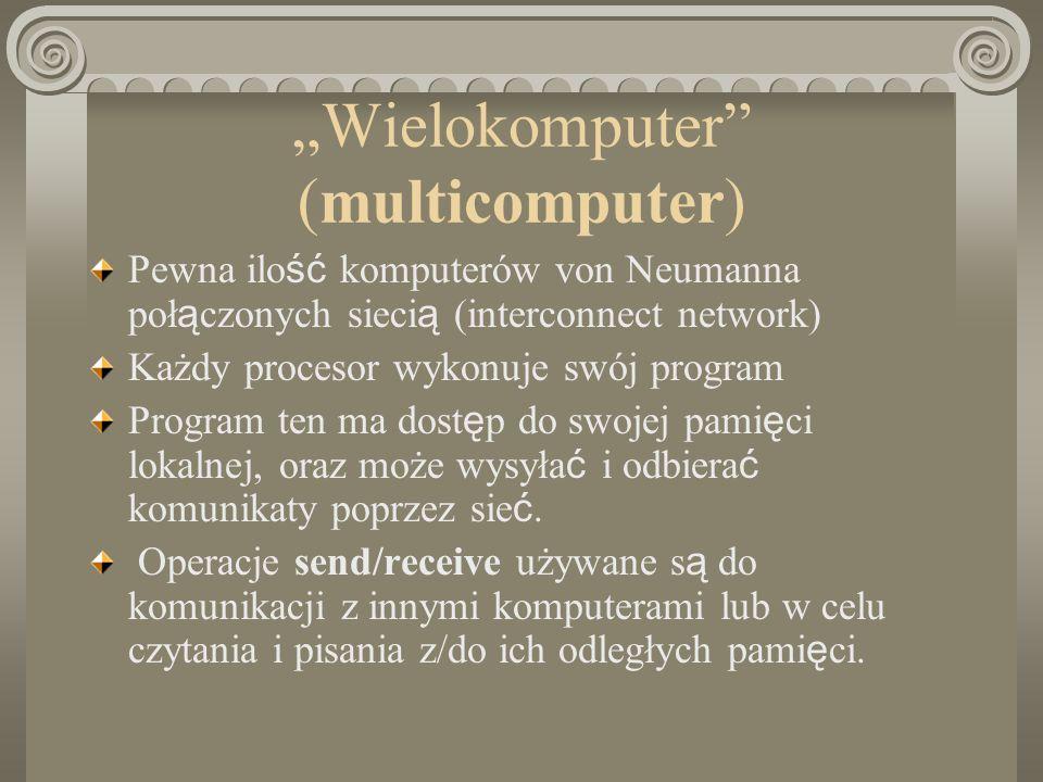 Wielokomputer (multicomputer) Pewna ilo ść komputerów von Neumanna poł ą czonych sieci ą (interconnect network) Każdy procesor wykonuje swój program P
