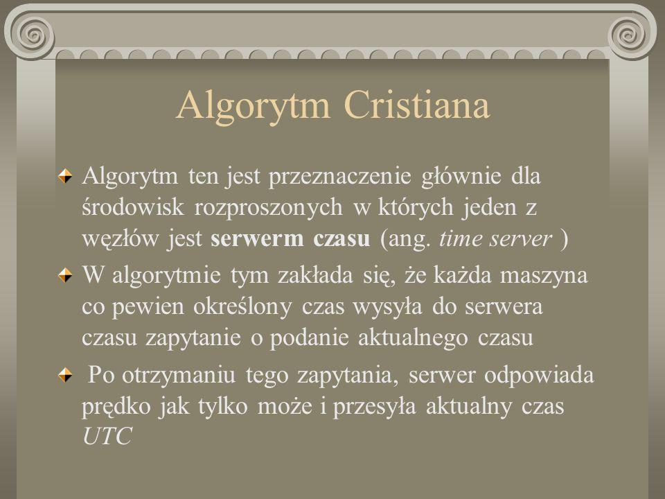 Algorytm Cristiana Algorytm ten jest przeznaczenie głównie dla środowisk rozproszonych w których jeden z węzłów jest serwerm czasu (ang. time server )