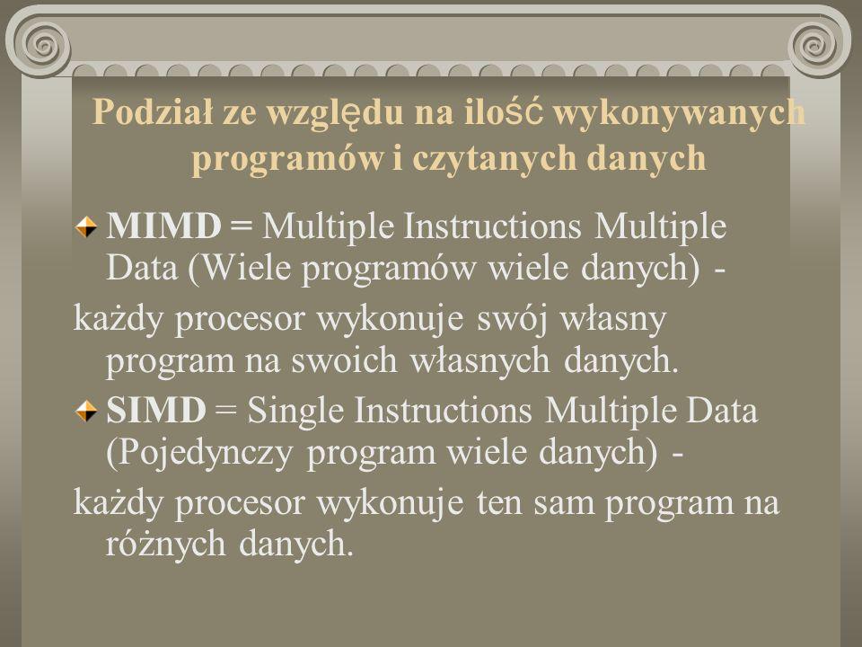 Podział ze wzgl ę du na ilo ść wykonywanych programów i czytanych danych MISD = Multiple Instruction Single Data (Wiele programów te same dane) każdy procesor wykonuje swój własny program na tych samych danych (Praktycznie nie występują) SISD = Single Instruction Single Data (Jeden program te same dane) to klasyczna architektura sekwencyjna (wiele kopii tego samego komputera sekwencyjnego)