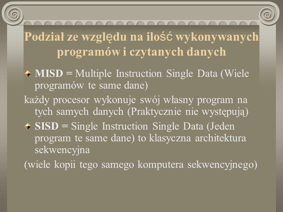 Podział ze wzgl ę du na ilo ść wykonywanych programów i czytanych danych MISD = Multiple Instruction Single Data (Wiele programów te same dane) każdy