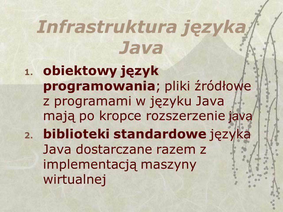 Infrastruktura języka Java 1. obiektowy język programowania; pliki źródłowe z programami w języku Java mają po kropce rozszerzenie java 2. biblioteki