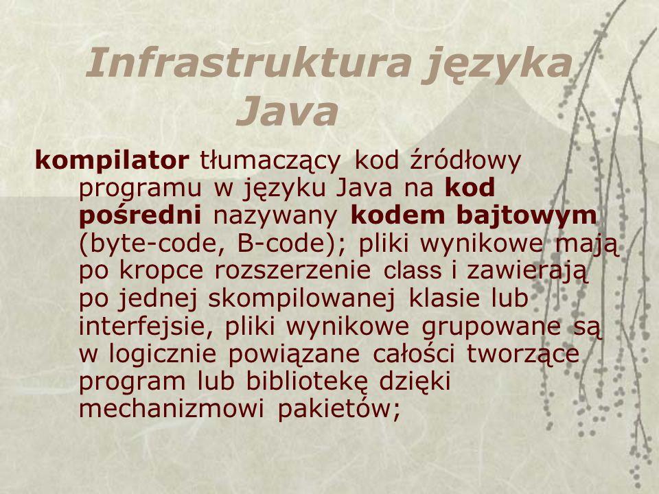 Infrastruktura języka Java kompilator tłumaczący kod źródłowy programu w języku Java na kod pośredni nazywany kodem bajtowym (byte-code, B-code); pliki wynikowe mają po kropce rozszerzenie class i zawierają po jednej skompilowanej klasie lub interfejsie, pliki wynikowe grupowane są w logicznie powiązane całości tworzące program lub bibliotekę dzięki mechanizmowi pakietów;