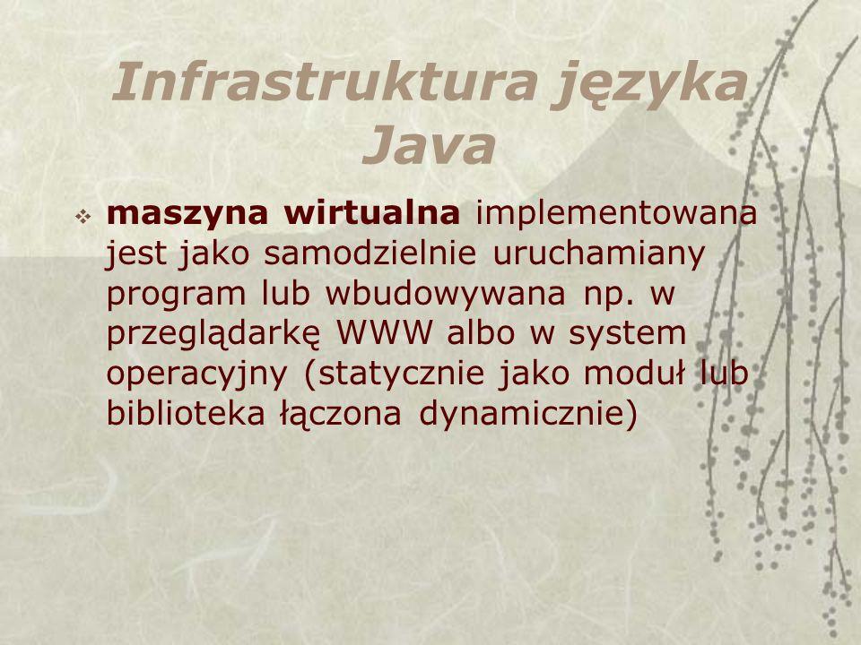 Infrastruktura języka Java maszyna wirtualna implementowana jest jako samodzielnie uruchamiany program lub wbudowywana np. w przeglądarkę WWW albo w s