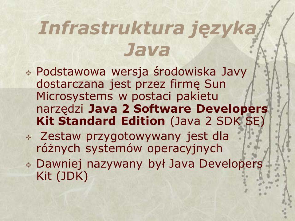 Infrastruktura języka Java Podstawowa wersja środowiska Javy dostarczana jest przez firmę Sun Microsystems w postaci pakietu narzędzi Java 2 Software Developers Kit Standard Edition (Java 2 SDK SE) Zestaw przygotowywany jest dla różnych systemów operacyjnych Dawniej nazywany był Java Developers Kit (JDK)