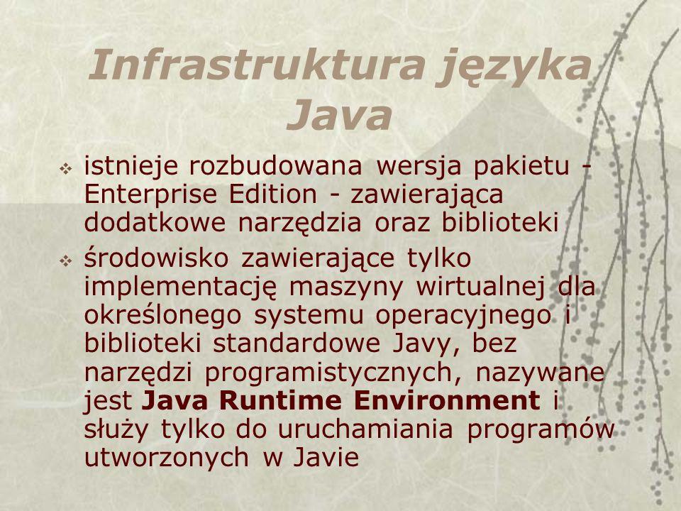 Infrastruktura języka Java istnieje rozbudowana wersja pakietu - Enterprise Edition - zawierająca dodatkowe narzędzia oraz biblioteki środowisko zawierające tylko implementację maszyny wirtualnej dla określonego systemu operacyjnego i biblioteki standardowe Javy, bez narzędzi programistycznych, nazywane jest Java Runtime Environment i służy tylko do uruchamiania programów utworzonych w Javie