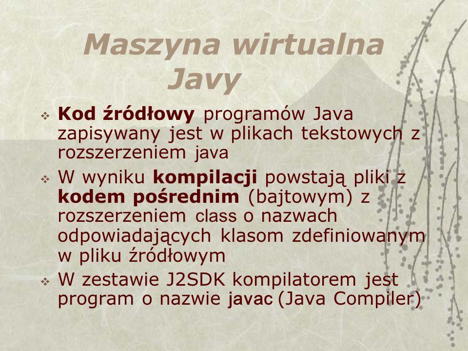 Maszyna wirtualna Javy Kod źródłowy programów Java zapisywany jest w plikach tekstowych z rozszerzeniem java W wyniku kompilacji powstają pliki z kodem pośrednim (bajtowym) z rozszerzeniem class o nazwach odpowiadających klasom zdefiniowanym w pliku źródłowym W zestawie J2SDK kompilatorem jest program o nazwie javac (Java Compiler)