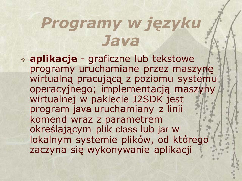 Programy w języku Java aplikacje - graficzne lub tekstowe programy uruchamiane przez maszynę wirtualną pracującą z poziomu systemu operacyjnego; implementacją maszyny wirtualnej w pakiecie J2SDK jest program java uruchamiany z linii komend wraz z parametrem określającym plik class lub jar w lokalnym systemie plików, od którego zaczyna się wykonywanie aplikacji