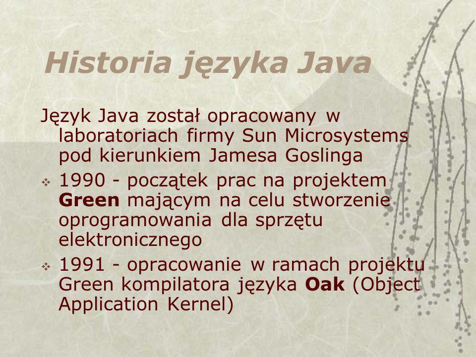 Historia języka Java Język Java został opracowany w laboratoriach firmy Sun Microsystems pod kierunkiem Jamesa Goslinga 1990 - początek prac na projektem Green mającym na celu stworzenie oprogramowania dla sprzętu elektronicznego 1991 - opracowanie w ramach projektu Green kompilatora języka Oak (Object Application Kernel)