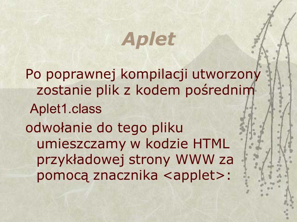 Aplet Po poprawnej kompilacji utworzony zostanie plik z kodem pośrednim Aplet1.class odwołanie do tego pliku umieszczamy w kodzie HTML przykładowej st