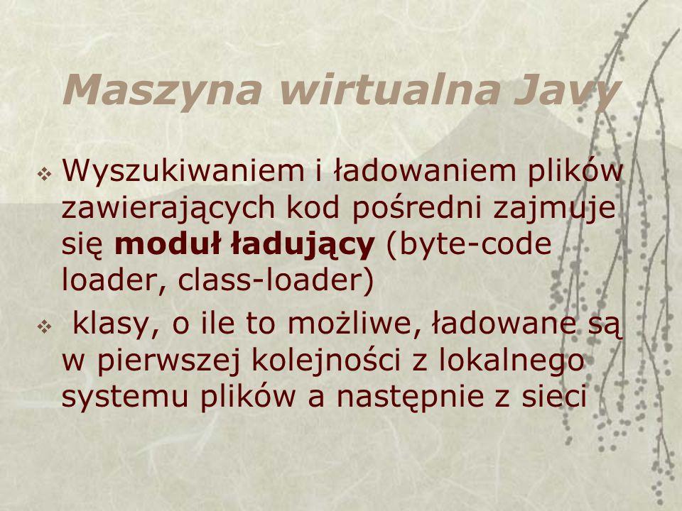 Maszyna wirtualna Javy Wyszukiwaniem i ładowaniem plików zawierających kod pośredni zajmuje się moduł ładujący (byte-code loader, class-loader) klasy, o ile to możliwe, ładowane są w pierwszej kolejności z lokalnego systemu plików a następnie z sieci
