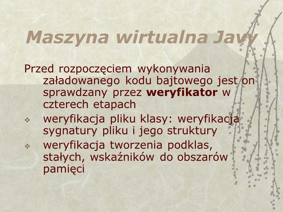 Maszyna wirtualna Javy Przed rozpoczęciem wykonywania załadowanego kodu bajtowego jest on sprawdzany przez weryfikator w czterech etapach weryfikacja