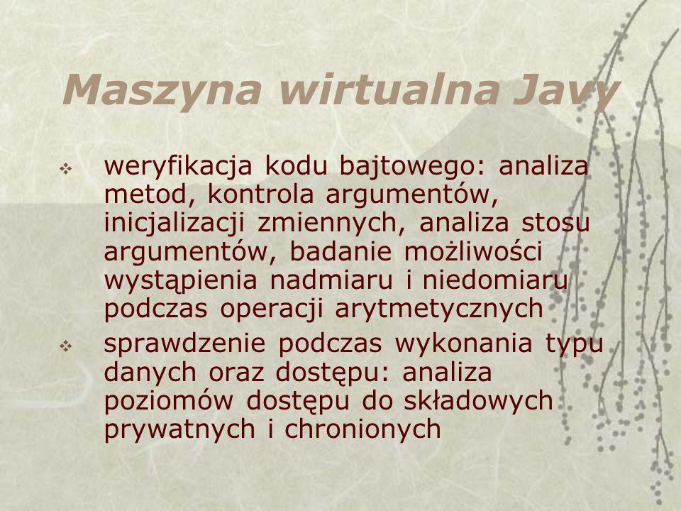 Maszyna wirtualna Javy weryfikacja kodu bajtowego: analiza metod, kontrola argumentów, inicjalizacji zmiennych, analiza stosu argumentów, badanie możl
