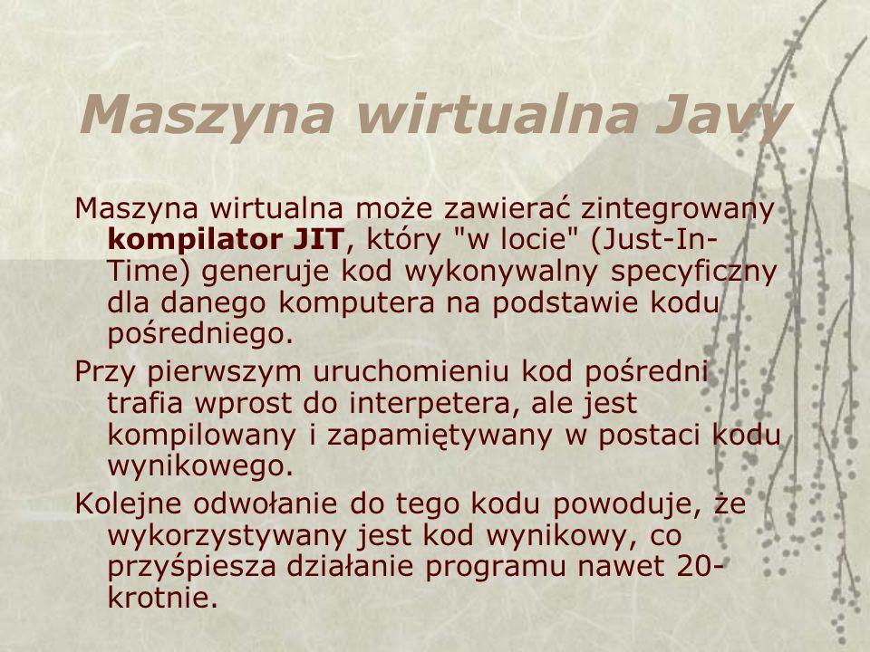 Maszyna wirtualna Javy Maszyna wirtualna może zawierać zintegrowany kompilator JIT, który