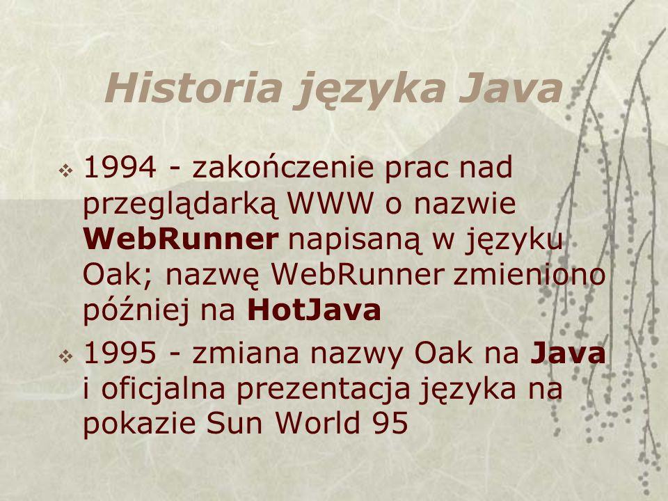 Historia języka Java 1994 - zakończenie prac nad przeglądarką WWW o nazwie WebRunner napisaną w języku Oak; nazwę WebRunner zmieniono później na HotJava 1995 - zmiana nazwy Oak na Java i oficjalna prezentacja języka na pokazie Sun World 95