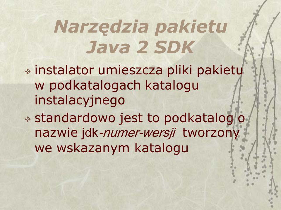 Narzędzia pakietu Java 2 SDK instalator umieszcza pliki pakietu w podkatalogach katalogu instalacyjnego standardowo jest to podkatalog o nazwie jdk-numer-wersji tworzony we wskazanym katalogu