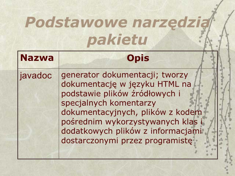 Podstawowe narzędzia pakietu generator dokumentacji; tworzy dokumentację w języku HTML na podstawie plików źródłowych i specjalnych komentarzy dokumentacyjnych, plików z kodem pośrednim wykorzystywanych klas i dodatkowych plików z informacjami dostarczonymi przez programistę javadoc OpisNazwa