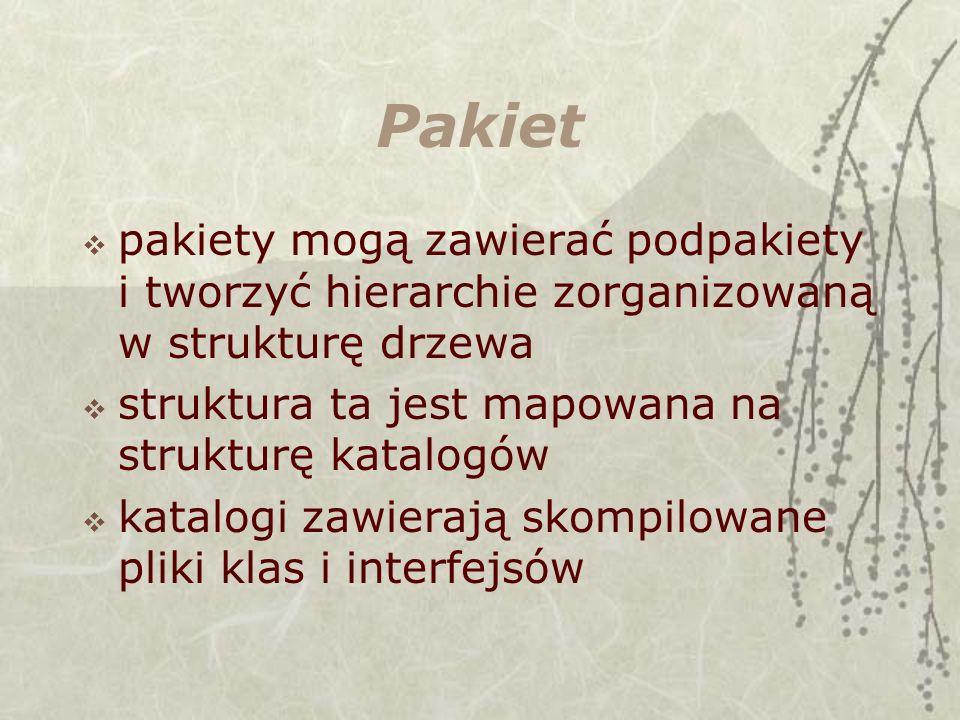 Pakiet pakiety mogą zawierać podpakiety i tworzyć hierarchie zorganizowaną w strukturę drzewa struktura ta jest mapowana na strukturę katalogów katalogi zawierają skompilowane pliki klas i interfejsów