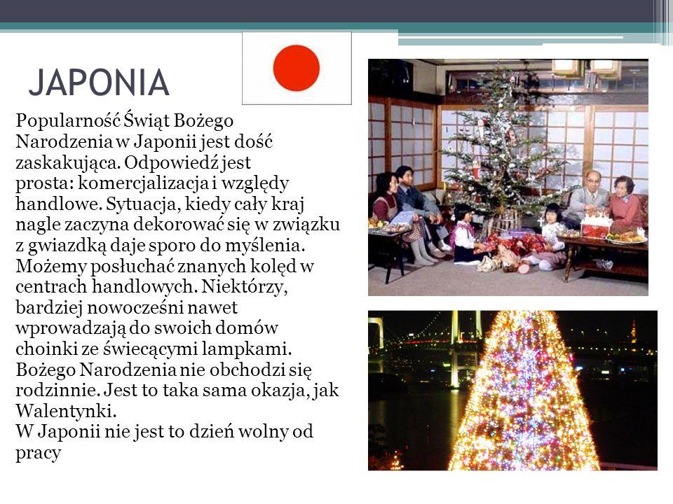 JAPONIA Popularność Świąt Bożego Narodzenia w Japonii jest dość zaskakująca. Odpowiedź jest prosta: komercjalizacja i względy handlowe. Sytuacja, kied