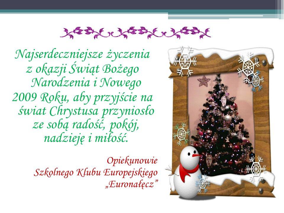 Najserdeczniejsze życzenia z okazji Świąt Bożego Narodzenia i Nowego 2009 Roku, aby przyjście na świat Chrystusa przyniosło ze sobą radość, pokój, nad