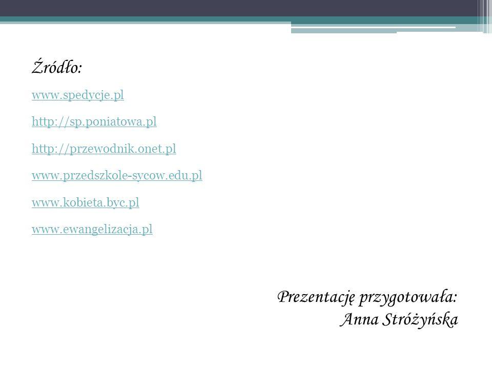 Prezentację przygotowała: Anna Stróżyńska Źródło: www.spedycje.pl http://sp.poniatowa.pl http://przewodnik.onet.pl www.przedszkole-sycow.edu.pl www.ko