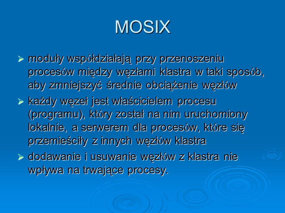 MOSIX moduły wsp ó łdziałają przy przenoszeniu proces ó w między węzłami klastra w taki spos ó b, aby zmniejszyć średnie obciążenie węzł ó w moduły ws