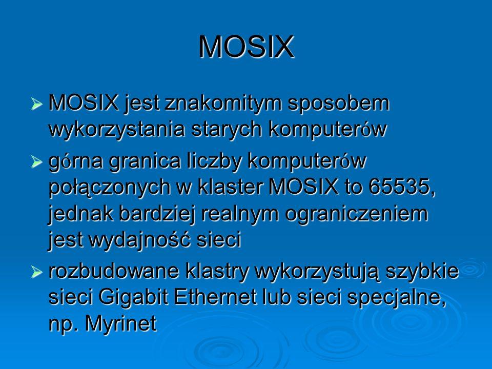MOSIX MOSIX jest znakomitym sposobem wykorzystania starych komputer ó w MOSIX jest znakomitym sposobem wykorzystania starych komputer ó w g ó rna gran