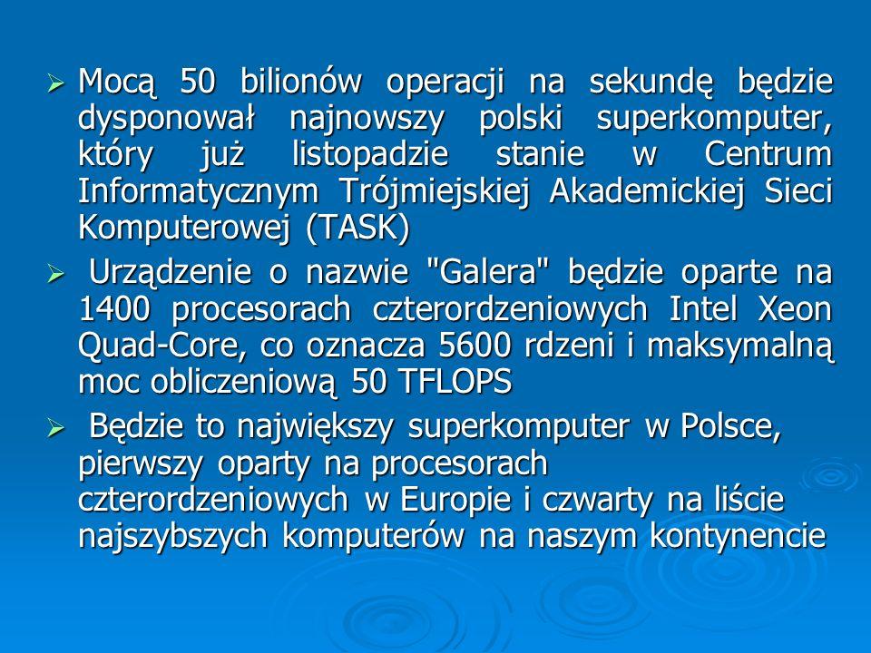 Mocą 50 bilionów operacji na sekundę będzie dysponował najnowszy polski superkomputer, który już listopadzie stanie w Centrum Informatycznym Trójmiejs