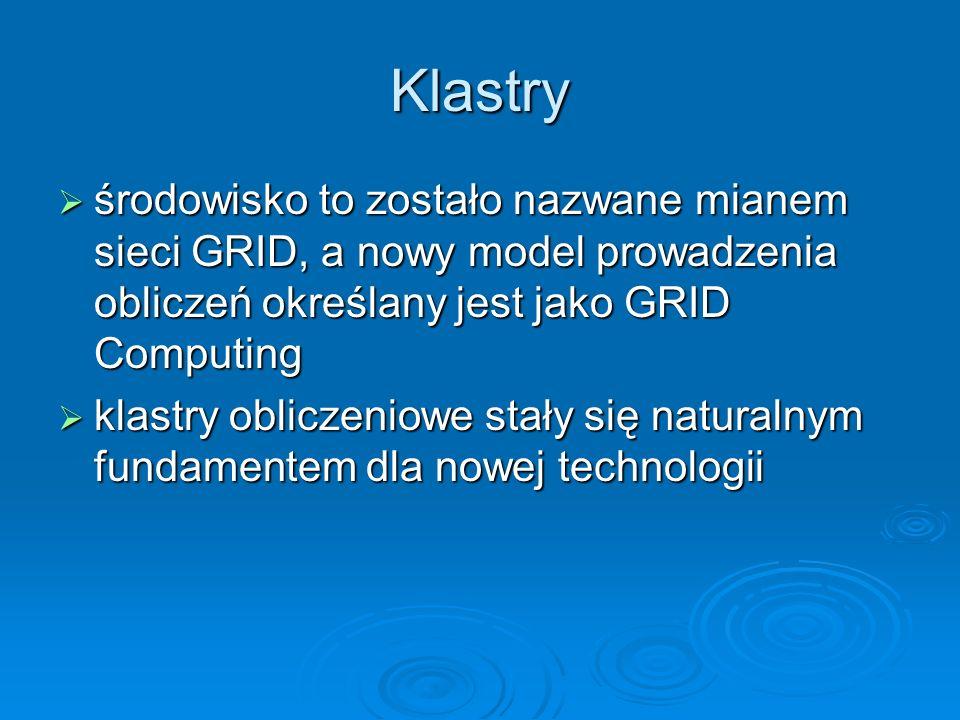 Klastry środowisko to zostało nazwane mianem sieci GRID, a nowy model prowadzenia obliczeń określany jest jako GRID Computing środowisko to zostało na