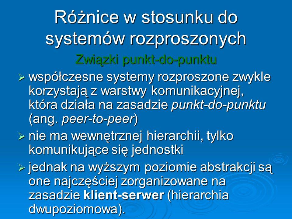 Różnice w stosunku do systemów rozproszonych Związki punkt-do-punktu współczesne systemy rozproszone zwykle korzystają z warstwy komunikacyjnej, która