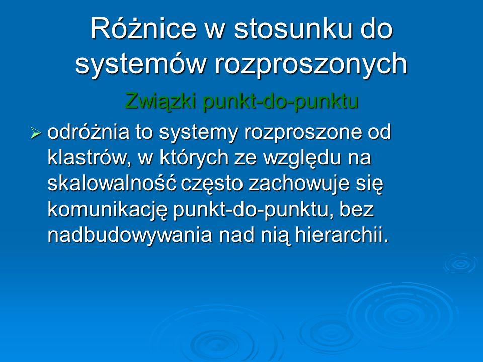 Różnice w stosunku do systemów rozproszonych Związki punkt-do-punktu odróżnia to systemy rozproszone od klastrów, w których ze względu na skalowalność