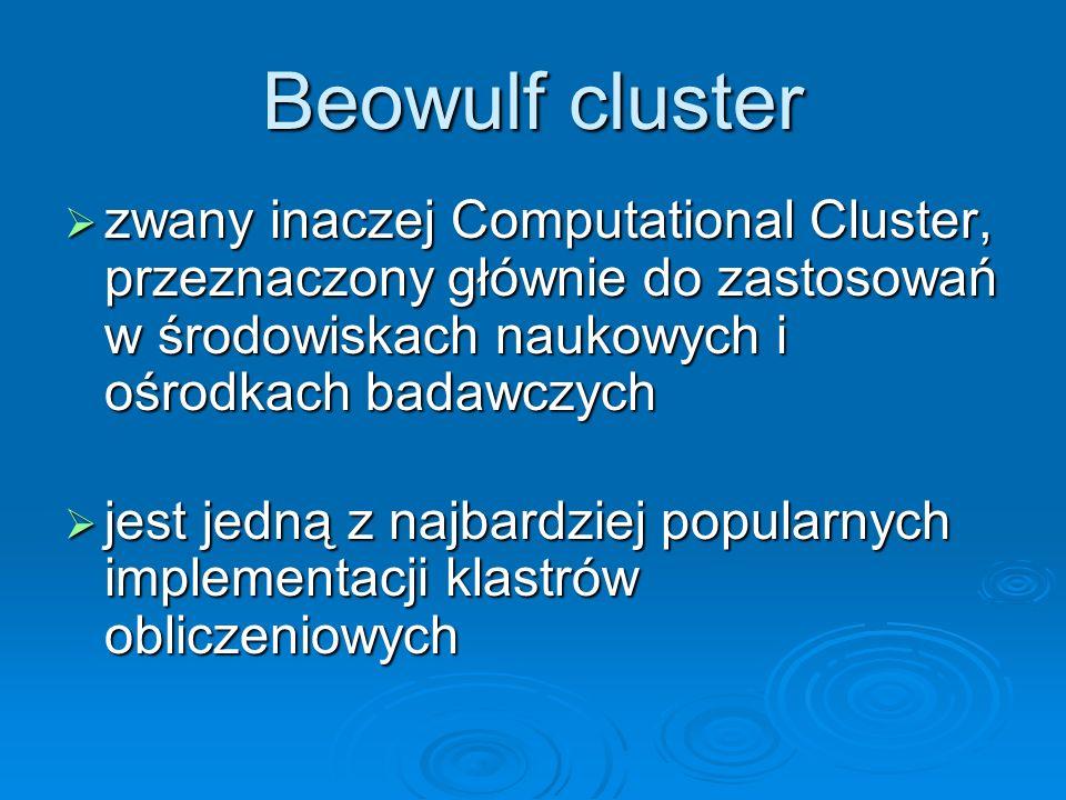 Beowulf cluster zwany inaczej Computational Cluster, przeznaczony głównie do zastosowań w środowiskach naukowych i ośrodkach badawczych zwany inaczej
