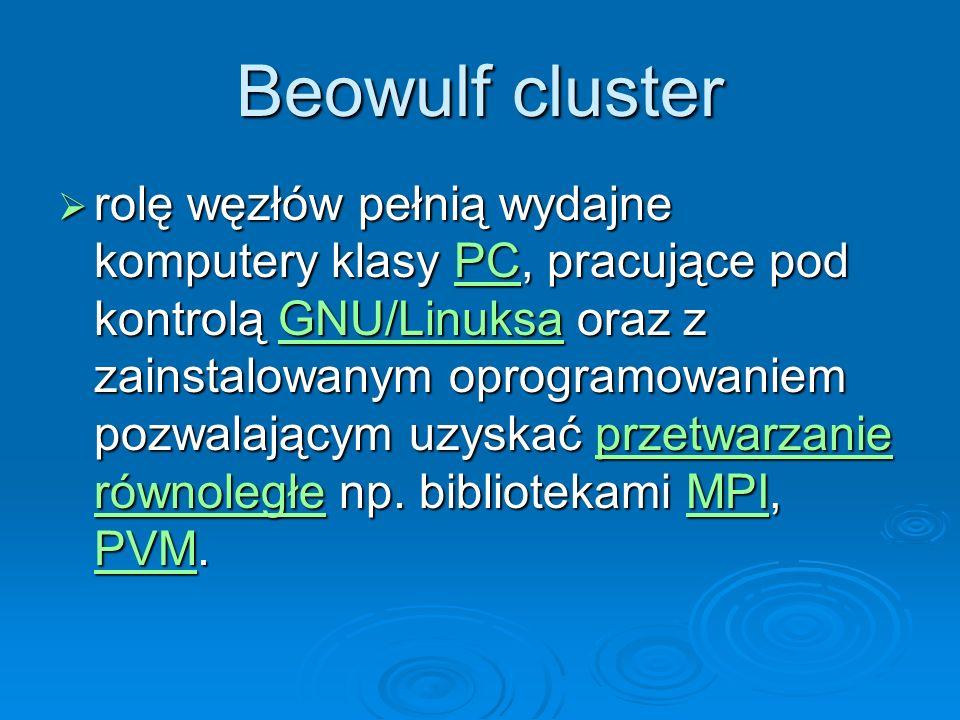 Beowulf cluster rolę węzłów pełnią wydajne komputery klasy PC, pracujące pod kontrolą GNU/Linuksa oraz z zainstalowanym oprogramowaniem pozwalającym u