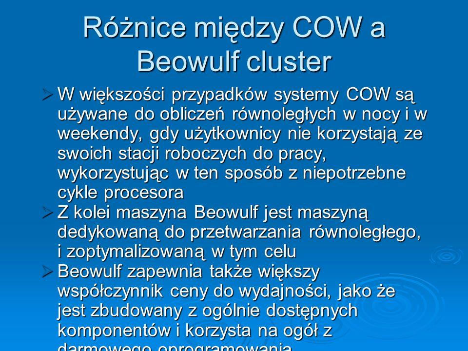 Różnice między COW a Beowulf cluster W większości przypadków systemy COW są używane do obliczeń równoległych w nocy i w weekendy, gdy użytkownicy nie