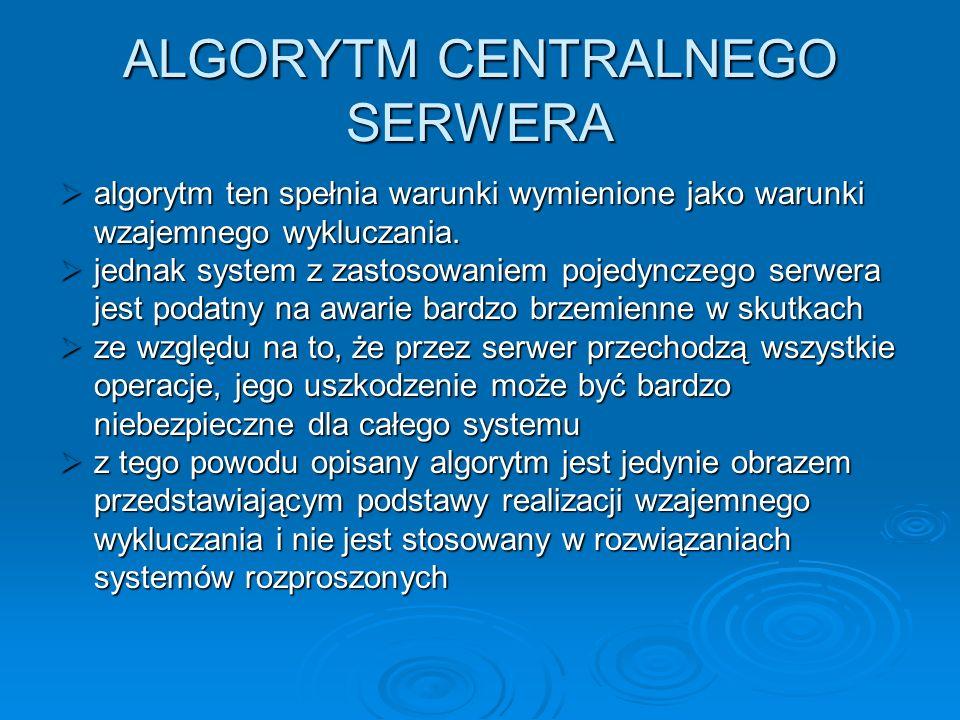 ALGORYTM CENTRALNEGO SERWERA algorytm ten spełnia warunki wymienione jako warunki wzajemnego wykluczania. algorytm ten spełnia warunki wymienione jako