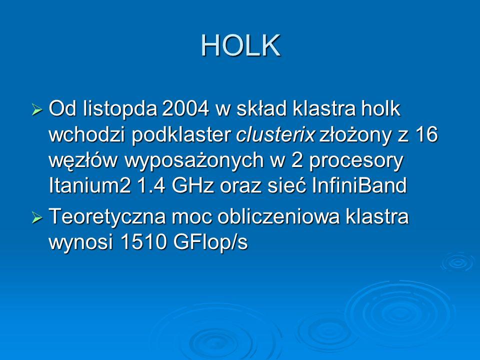 HOLK Od listopda 2004 w skład klastra holk wchodzi podklaster clusterix złożony z 16 węzłów wyposażonych w 2 procesory Itanium2 1.4 GHz oraz sieć Infi
