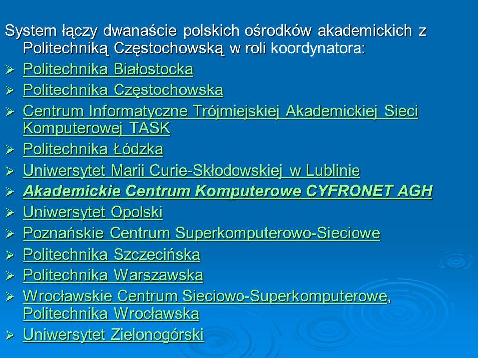 System łączy dwanaście polskich ośrodków akademickich z Politechniką Częstochowską w roli : System łączy dwanaście polskich ośrodków akademickich z Po