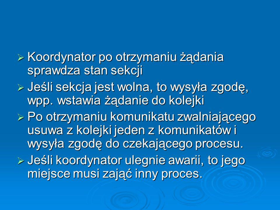 Koordynator po otrzymaniu żądania sprawdza stan sekcji Koordynator po otrzymaniu żądania sprawdza stan sekcji Jeśli sekcja jest wolna, to wysyła zgodę, wpp.