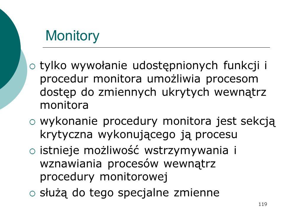 119 Monitory tylko wywołanie udostępnionych funkcji i procedur monitora umożliwia procesom dostęp do zmiennych ukrytych wewnątrz monitora wykonanie pr