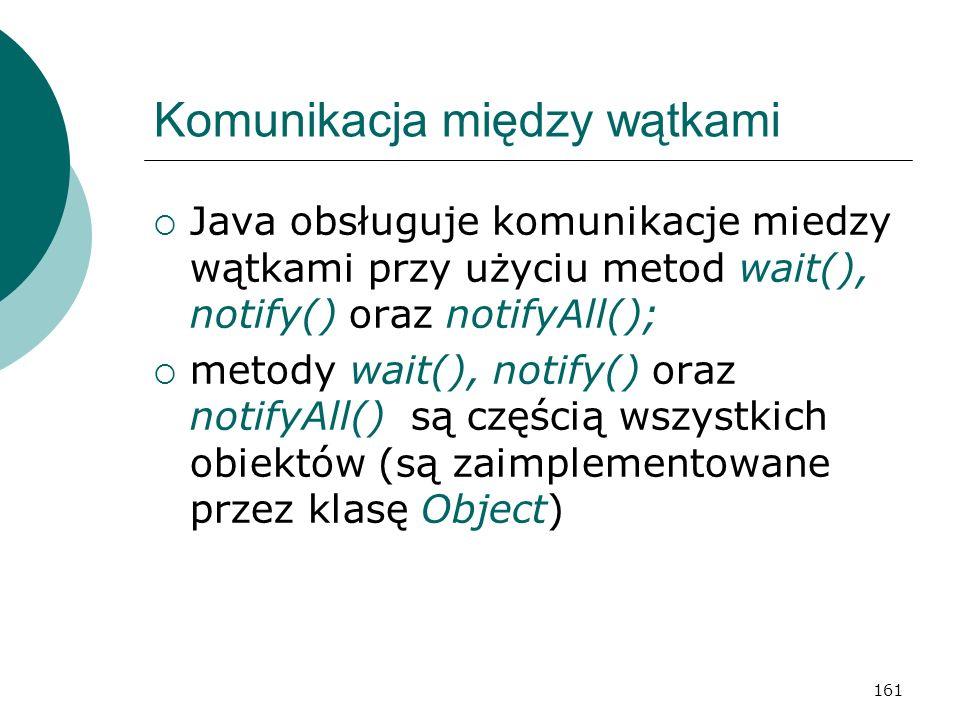 161 Komunikacja między wątkami Java obsługuje komunikacje miedzy wątkami przy użyciu metod wait(), notify() oraz notifyAll(); metody wait(), notify()